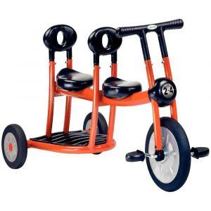 Bi-tricycle 2 places orange pour 2-4 ans