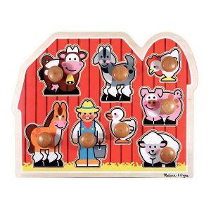 Encastrement à gros boutons en bois 'les animaux de la ferme', 8 pièces