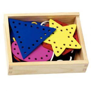 Coffret en bois de  7 formes géométriques en bois à lacer