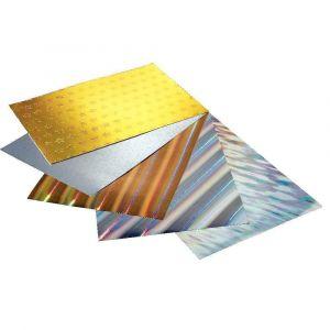 Feuilles de papier carton holographique - 230g - 25x35 cm - Lot de 5