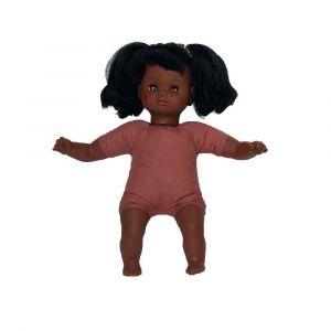 Poupon fille africaine - Corps souple - Avec cheveux - 30 cm