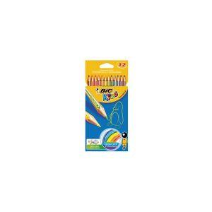 BIC KIDS Etui 12 crayons de couleur TROPICOLOR2 (version sans bois). Coloris assortis