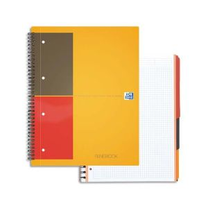OXFORD Cahier spirale FILINGBOOK en polypropylène gris 200 pages perforées 80g 5x5 21 x 31,8 cm