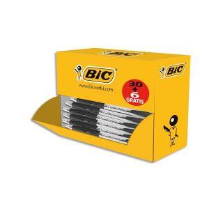 BIC Pack éco de 30 + 6 stylos bille ATLANTIS noir, pointe moyenne, rechargeable, bille indéformable