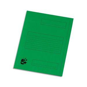 5 ETOILES Paquet de 50 Chemises à 2 rabats pour dossiers-suspendus, coloris vert