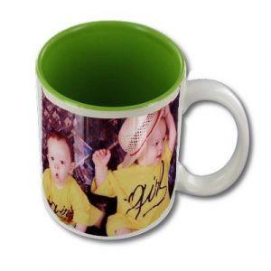 Mug personnalisable blanc intérieur vert