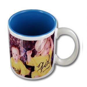 Mug personnalisable blanc intérieur bleu