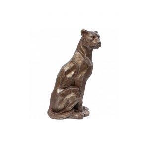 Statue panthére assise rivet cuivrée Copper