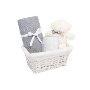 Pack Cadeau  Doux Rêves : Peluche, Veilleuse et Couverture Gris
