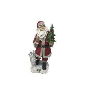 Figurine Père Noël avec animaux Rouge
