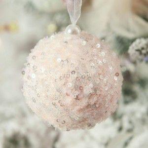 Lot de 12 boules de Noël (D80 mm) Fun Rose poudré
