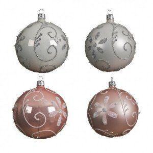 Lot de 4 boules de Noël (D100 mm) Floris Blanc/ Rose