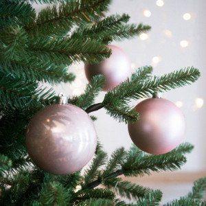 Lot de 4 boules de Noël (D100 mm) Alpine Rose poudré