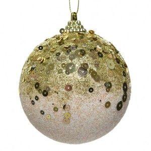 Lot de 12 boules de Noël (D80 mm) Maïana Rose poudré