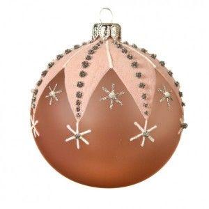 Lot de 6 boules de Noël (D80 mm) Etoiles à strass Rose poudré