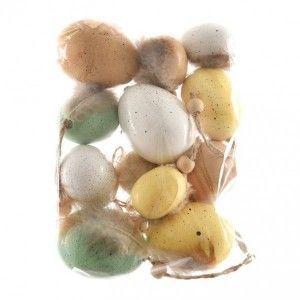 Lot de 12 œufs de Pâques Plume Multicouleur