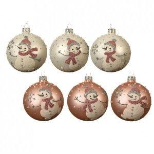 Lot de 6 boules de Noël (D80 mm) Fluffy Rose poudré
