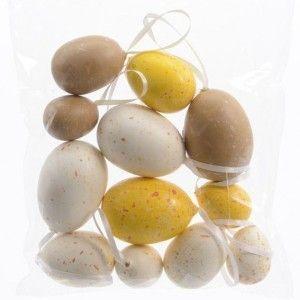 Lot de 12 œufs de Pâques mouchetés Classique Jaune