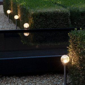 Lot de 6 bornes de jardin solaires Verre craquelé - Blanc chaud