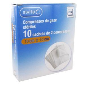 Alvita Compresse Gaze 10 x 10cm Lot de 10 x 2 unités