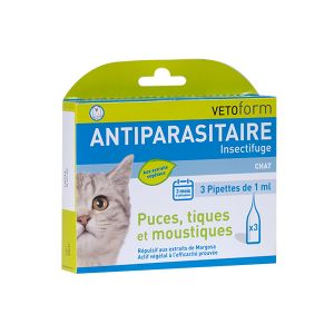 Vetoform Antiparasitaire Chat 3 pipettes