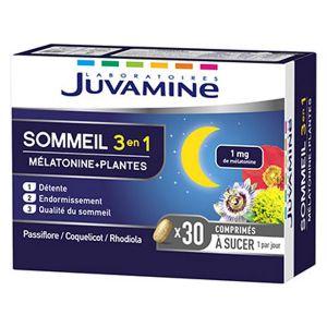 Juvamine Sommeil 3en1 Mélatonine + Plantes 30 comprimés à sucer