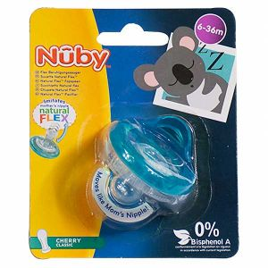Nuby Sucette Natural Flex Cherry Classic Turquoise 6-36 mois
