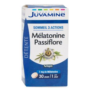 Juvamine Détente Sommeil 3 Actions Mélatonine Passiflore 30 Comprimés