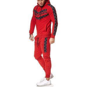 Ensembles de survêtement Monsieurmode Ensemble jogging homme Survêt 13108 rouge rouge - Taille EU S,EU M,EU L,EU XL
