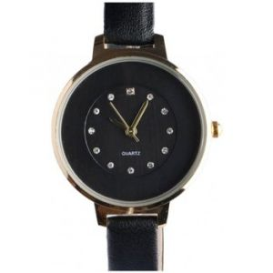 Montre Michael John Fin bracelet montre femme noir dore strass classe Prestya - Couleur Unique - Taille multicolor