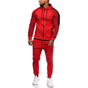 Ensembles de survêtement Monsieurmode Ensemble jogging homme Survêtement 1121 rouge - Couleur EU L,EU XL - Taille Rouge