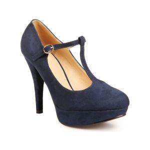 Chaussures escarpins La Modeuse Escarpins salomés bleu foncé à plateforme