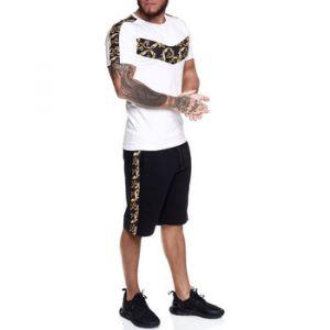 Ensembles de survêtement Monsieurmode Ensemble bermuda et t-shirt Ensemble 1462 blanc - Couleur EU M,EU L,EU XL - Taille Blanc