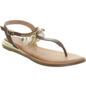 Sandales Gioseppo Sandales plates en cuir ref_48733 Marron - Couleur 37 - Taille Marron