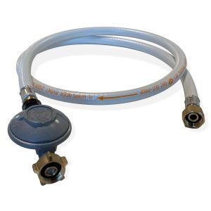 Kit Tuyau flexible de gaz 1,5 m à embouts mécaniques + Détendeur Butane 28mbar 1,3kg/h - Normes NF