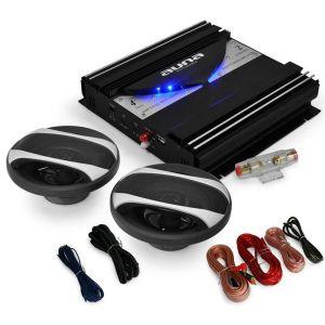 "Car Hifi Set ""Black Line 200"" Ampli + Enceintes Auto 1400W"