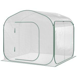 Serre de jardin pop-up porte zippée enroulable sac transport PE blanc vert