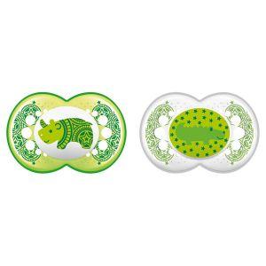 Sucettes anatomiques silicone 18 mois et plus x2 collection animaux - beautiful + paon