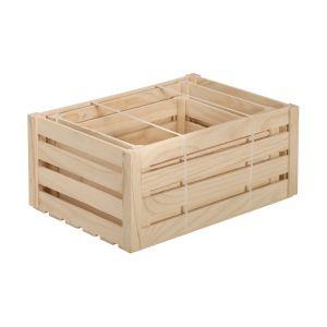 Caisse de rangement en pin brut (Lot de 3)