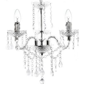 Lustre à Pampilles Métal Argenté et Acrylique Effet Cristal - 3 Lampes