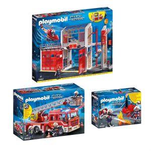 PLAYMOBIL 9462-63-68 City Action - Set de 3 Boîtes Playmobil sur le thème des pompiers