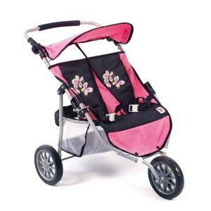 Poussette Jogger 3 roues pour poupées jumelles - design Marine et rose.