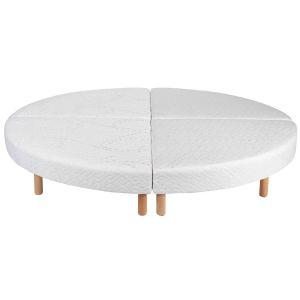 Sommier rond tapissier blanc 215 cm