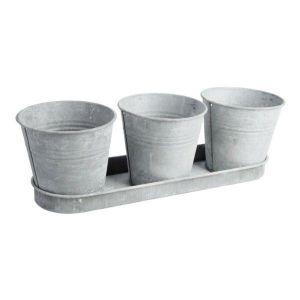 Set 3 pots de fleur en zinc