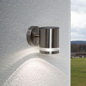 Lampe solaire extérieure en inox moderne LED