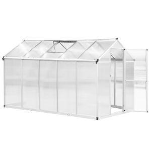 Serre de jardin aluminium polycarbonate 5,5 m² fondation lucarne porte