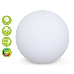 Boule lumineuse LED ø 60cm 16 couleurs, étanche, recharge sans fil avec télécommande