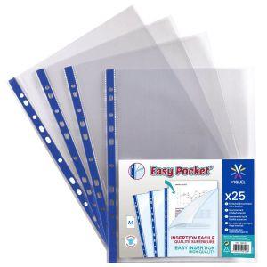 Lot de 50 pochettes perforées transparentes de qualité supérieure A4