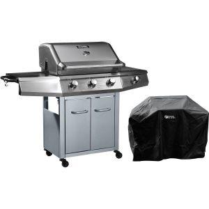 """Barbecue Gaz avec LED """"Bingo 4"""" - 4 brûleurs dont 1 latéral - 14kW + Housse protection - Argenté"""