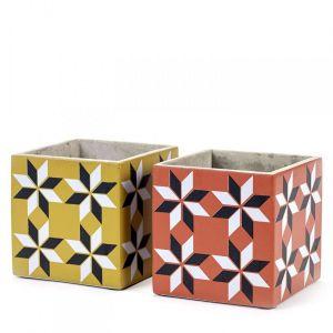 2 Pots Béton Cubique Marie Carreau Vintage 13 x 13 x 13 cm Serax